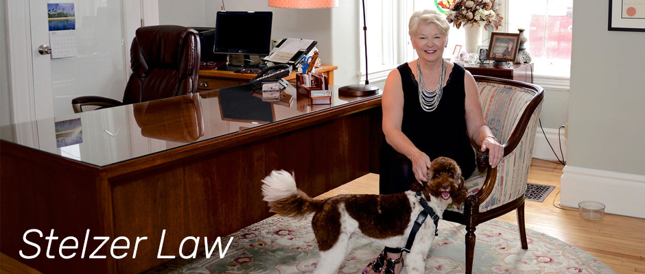 stelzer law cheryl in office with dog